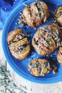 Roasted Hasselback Potatoes with Sweet Figs, Caramelized Onion and Mushroom