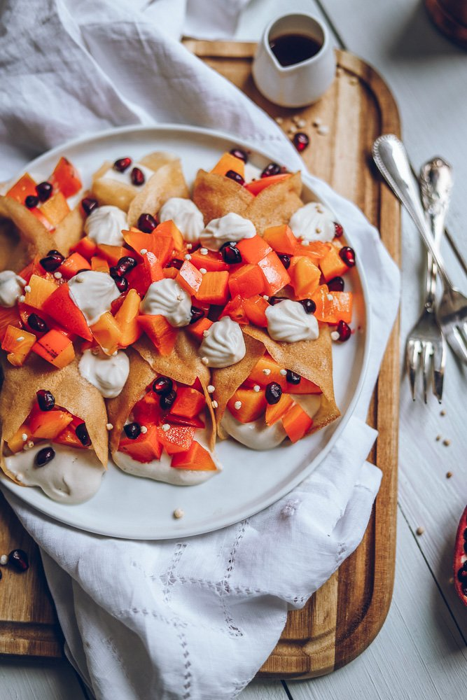 Vegan Crepes with Persimmon & Cashew Whipped Cream