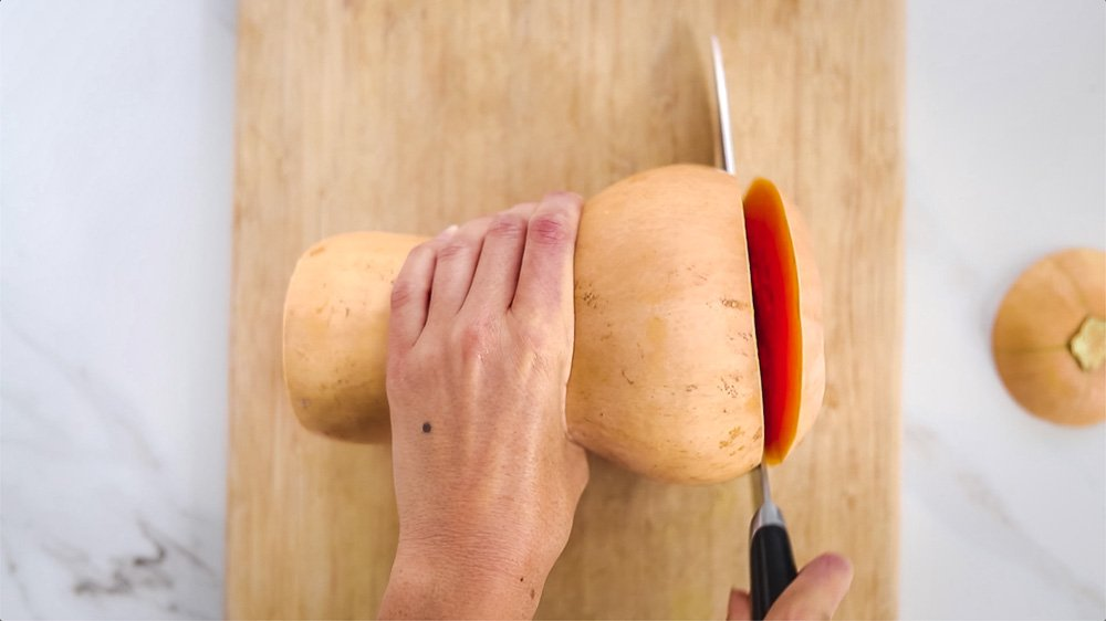 how to cut a butter nut squash step by step instruction